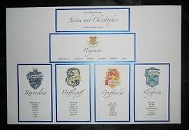Harry Potter Wedding Table Plan Personalised Seating Chart