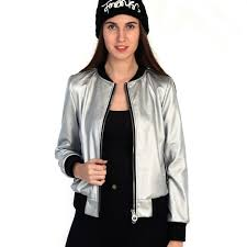 details about silver color pu leather jacket slim women winter outwear full sleeve