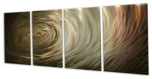 ripple brown gold metal wall art by miles shay 4 piece set  on wall art 4 piece set with ripple brown gold metal wall art by miles shay 4 piece set