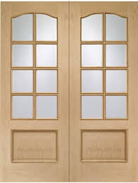 internal oak park lane door pair with clear bevelled glass