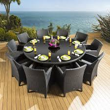 rattan garden dining set round table 10 large carver chairs black 2m