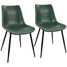 lumisource black and green durango vintage faux leather dining chair set of 2