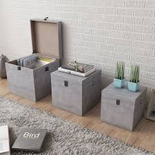 vidaXL 3x <b>Storage Box Concrete</b> Square Grey MDF Chest Organiser ...
