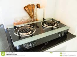 kitchen gas stove. Close Up Of The Gas Stove In Kitchen Room. Modern Interior, Building Interior