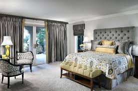 grey bedroom ideas decorating tufted headboard and silken ds give the room an air of luxury