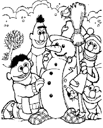 Bert En Ernie Maken Sneeuwpop Kleurplaat Jouwkleurplaten
