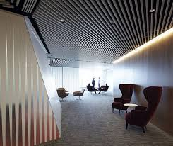 modern office ceiling. Elegant Transparent Office With Lavish Environment: Beautiful Ceiling Slat Style And Neon Lighting For Modern Design ~ Moldse.com Architecture I