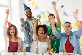 Office Birthday Happy Team With Confetti At Office Birthday Party Stock Photo
