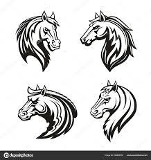 лошади животные тату или гонки спорт талисман векторное
