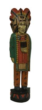 40 inch hand carved hand painted wooden cigar indian statue 0