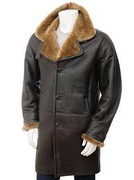 mens brown sheepskin trench coat barbrook front