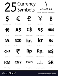 25 Currency Symbols Countries And Their Name Vector Image