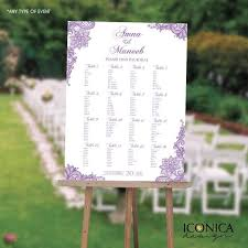 Color Purple Seating Chart Wedding Seating Chart Board Purple Lace Baby Shower Lilac