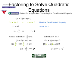 factoring to solve quadratic equations