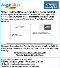 Voter Notification Letters Have Been Mailed Saugeen Shores