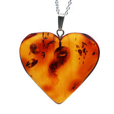 large amber pendant heart