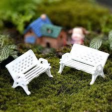 diy fairy garden furniture 2 set white park bench for miniatures bonsai fairy garden chair craft