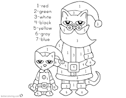 Pete The Cat Coloring Pages Christmas Color By Number Free With 6