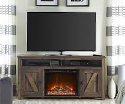 altra furniture barnwood electric fireplace in living room