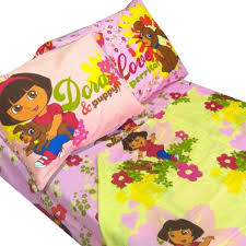 4pc dora explorer puppy full bed sheet set pink flowers hearts bedding sheets