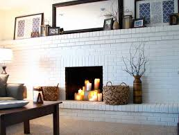 white painted brick fireplace design