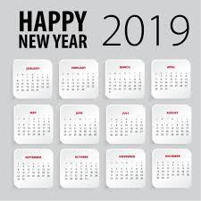 Calendar Template Png Happy New Year 2019 Calendar Template Calendar Design New Png And