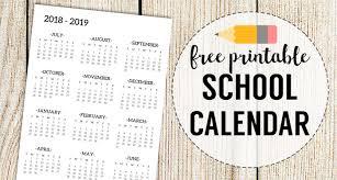 Free Printable School Calendar 2018 2019 School Calendar Printable Free Template Paper Trail Design