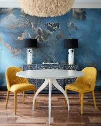 Yellow dining room chairs Eames Contemporary Dining Area With Deep Blue Walls Yellow Dining Chairs Ronsealinfo Contemporary Dining Area With Deep Blue Walls Yellow Dining Chairs