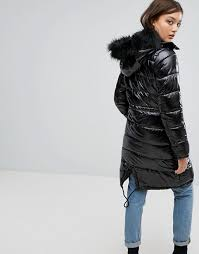 boohoo padded coat with faux fur hood s5c5 for women