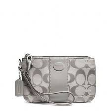 ... COACH-LEGACY-Signature-SMALL-WRISTLET-Silver-Grey-CLUTCH-