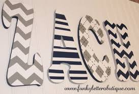 Chevron Print Painted Nursery Wall Letters