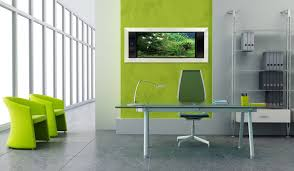 green ideas for the office. Contemporary Office Design Ideas Pictures Collection : Awesome Green Nuance With Glass Rectangular Desk For The A