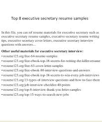 Executive Secretary Resume 1 Sample Assistant Samples 2015