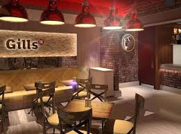 Decoration: Red Ceiling With Wooden Furniture Ideas Using Brick Wall  Decoration For Impressive Fast Food