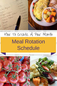 How To Create A 4 Month Meal Rotation Schedule Home Of