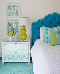 blue tufted headboard with white