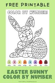The more you color, the more the picture comes alive. Easter Bunny Color By Number Free Printable Free Easter Activities