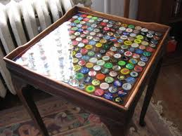 bottle cap furniture. my buddy just moved into a new apartment in giant old multifamily house itu0027s crowded with mishmash of furniture and curios from previous owners bottle cap o
