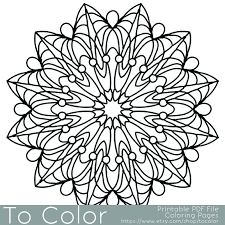 Small Picture Simple Printable Coloring Pages for Adults Gel Pens Mandala