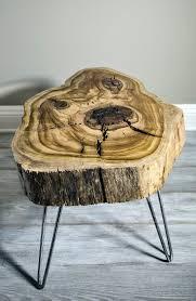 Sweet Gum Wood Slice Mid Century Modern Coffee/Side/Nightstand table. Hair  pin