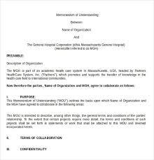 Letter Of Understanding Template Word Memorandum Of Understanding Template 20 Word Pdf Google