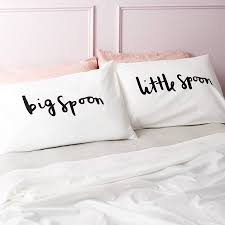 'Big Spoon Little Spoon' Pillow Cases - bed linen. '
