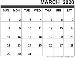 March 2020 Calendar Printable Free Printable Calendar Com