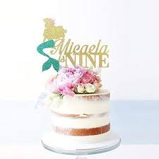 The Little Mermaid Personalized Age And Name Cake Topper Princess