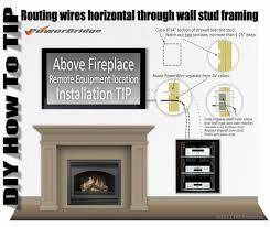 powerbridge installation above fireplace of on wall mounted lcd plasma led hdtv