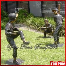 children garden statues. Outdoor Baseball Children Bronze Statue Garden Statues
