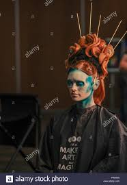 london uk 13 october 2018 united makeup artists expo is the show to give support to professional and aspiring makeup artists industry hairdressers barbers