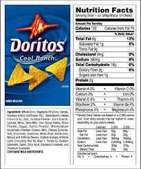cool ranch doritos nutrition label