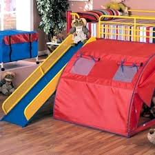 bunk bed with slide and tent. Child Bed With Slide Twin Loft Tent Fort Bunk Boys Girls Bedroom . And