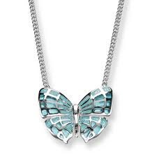 silver and enamel erfly necklace turquoise